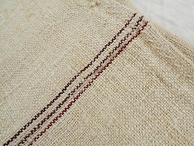 22x45 Vtg Antique BURGANDY STRIPE European HEMP LINEN Fabric FEED SACK GRAIN BAG