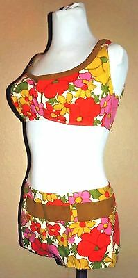 VTG 60s Floral Mod Psychedelic Bathing Suit 2-Piece Swim Suit Bikini