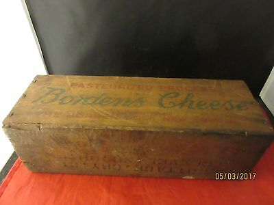 Vintage 5 Lb Wood Box Bordens Cheese Cleveland Ohio Advertising