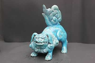 Antique Chinese Turquoise Foo Lion, Very Fine Detailed Modeling