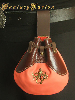 Medieval Octopus Squid Steampunk Leather Belt Pouch
