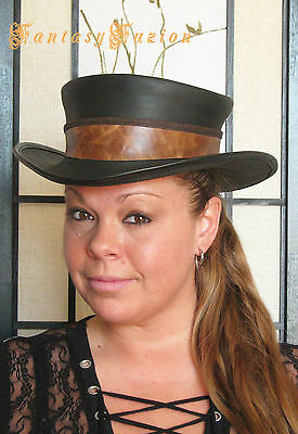 Steampunk Hat Adventurer Explorer Leather Standard SHORT Top Hat with Band