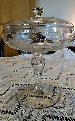 Antique Crystal Daisy Candy Dish