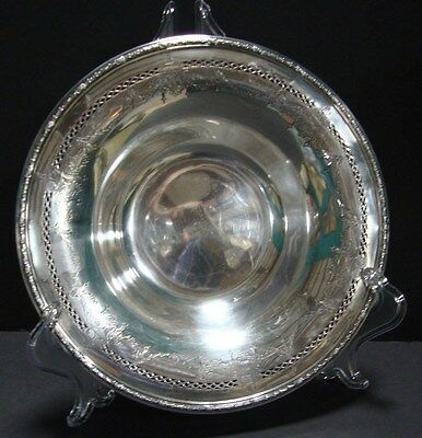 Vintage Round Pierced Sterling Silver Serving Bowl