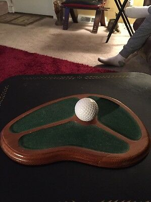 Vintage Mens Wooden Putting Green With Golf Ball Valet Jewelry Tray (RARE)
