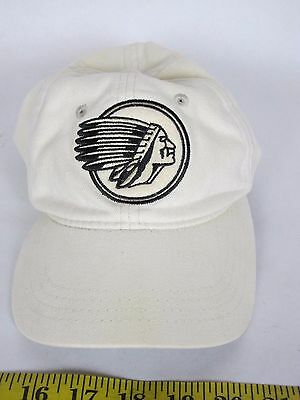 Vintage Indian Motorcycle White Ball Cap Hat Adjustable Strap Made in Cotton