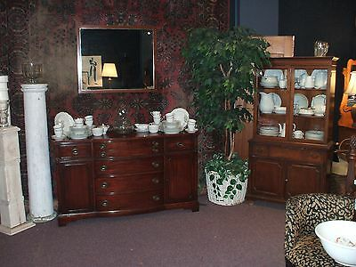 Bow Front Mahogany Buffet Sideboard Vintage  Antique Flat Screen TV Stand