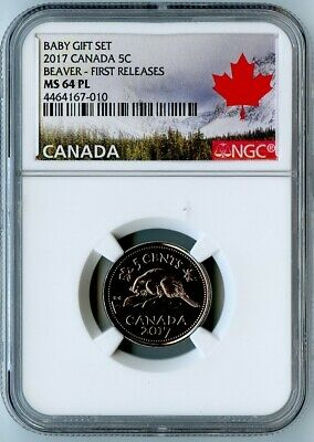 2017 Canada Ngc First Releases Ms64 Pl Baby Gift Set-Beaver 5 Cents 5C!