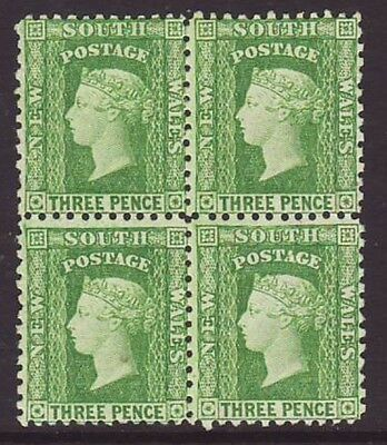 NSW 1860-80 3d yellow-green very clean block of 4 mint never hinged