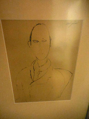 Pencil Drawing signed Modigliani matted and framed