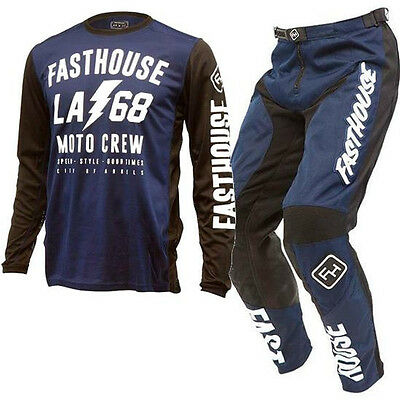 New FASTHOUSE GRINDHOUSE LA68 NAVY BLUE MX Motocross Jersey & Pants Outfit