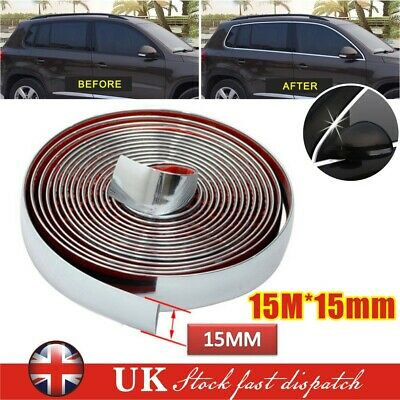 15mmX15m Chrome Self Adhesive Car Detail Edging Styling Moulding Trim Strip UK