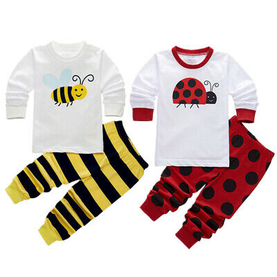 Kids Baby Boys Girls Summer Long T-Shirt+Short Pants Pajama Casual Clothes 1-7T