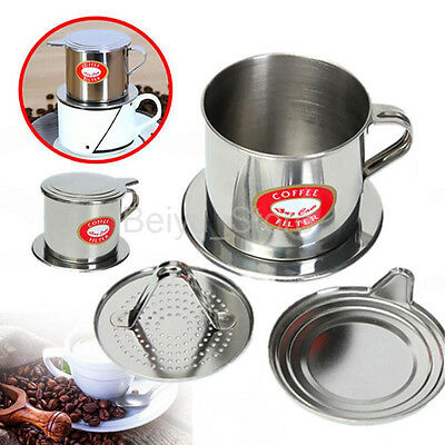 HOT Stainless Steel Vietnamese Coffee Drip Filter Maker Infuser Set