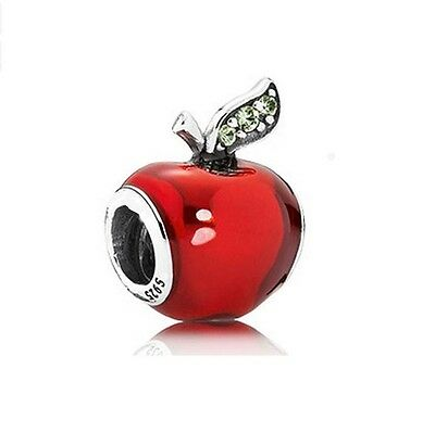 Sterling Silver European Snow White Apple CZ Charm -FREE Pandora Cloth