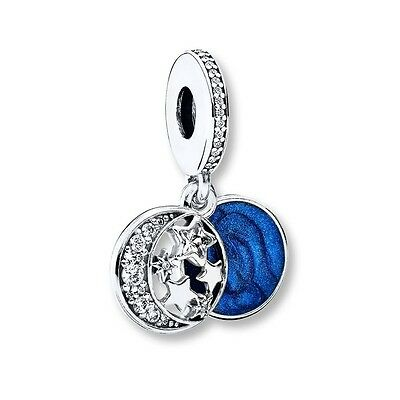 925 Sterling Silver EURO Moon & Back Vintage Night Sky Charm +FREE Pandora Cloth