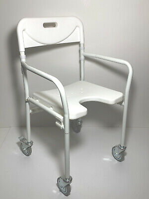 Shower Chair Stool Wheelchair Folds Flat H'Duty130kg Mobility Rehab Age Care NEW