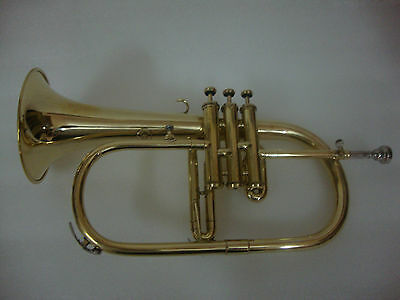 BRAND NEW BRASS FINISH Bb FLUGEL HORN WITH FREE HARD CASE+MOUTHPIECE+FAST SHIPP