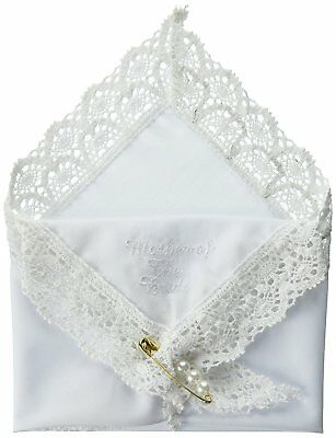 Darice Handkerchief Hankies Mother of The Bride Embossed Pearl Pin Wedding Lace