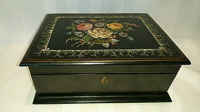 19th Century Paper Mache Hand Painted Sewing Box with Mother of Pearl Inlay