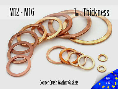 M12 / M16 Thick 1mm Metric Copper Flat Ring Oil Drain Plug Crush Washer Gaskets