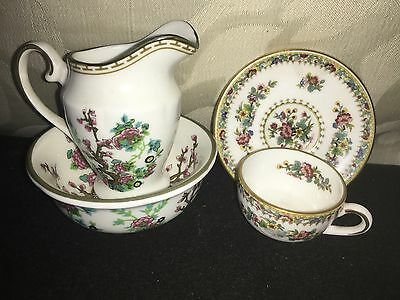 Miniature Coalport Items Indian Tree Pattern Jug,Bowl and Ming Rose Cup & Saucer