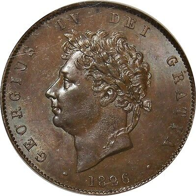 1826 Copper Half-penny, George IV. NGC MS 62. V. Uncirculated . Spink UNC £325