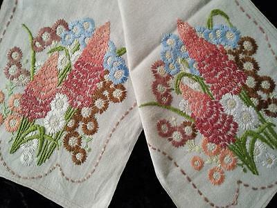 Beautiful Muted Cottage Flowers ~ Vintage Crewel Hand Embroidered Runner/Scarf