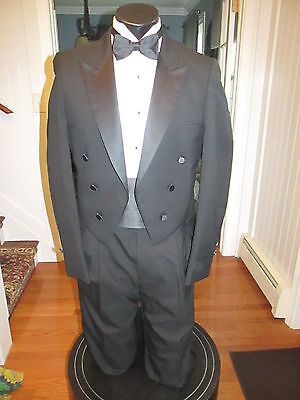 Mens Vintage Notch Lapel Black Tail Tuxedo Rafinnati 37L 4 Pcs Nb24