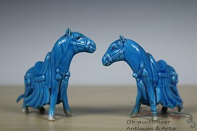 Beautiful A Pair Peacock Blue Chinese Porcelain Horse Statues