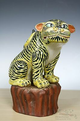 Rare Beautiful Chinese Famille Rose Porcelain Tigers Statue