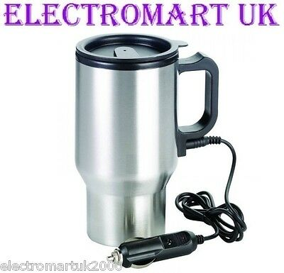 12V 12 Volt Car Van Lorry Stainless Steel Heated Travel Drinking Mug