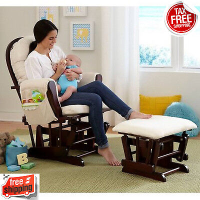 Glider Rocker Rocking Chair with Ottoman Baby Nursery Soft Comfortable Cushions