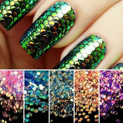 Mermaid Scales Holographic Iridescent Chunky Glitter Mix Multi-color Nail Art