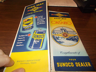 1951 Sunoco Ontario Vintage Road Map / Great Cover Graphics