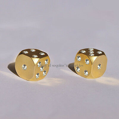 *very Rare* New $98 Bhldn Gold Crystal Luxury Game Dice Set Gift Anthropologie