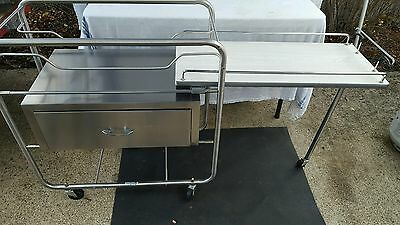 hospital grd stainless steel bassinet baby cart with drawer and table extension