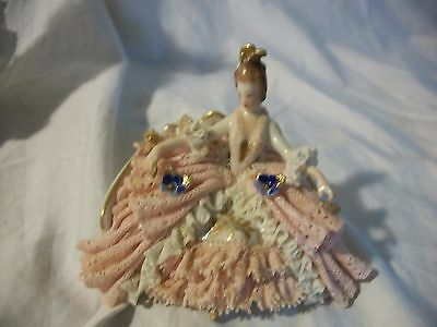 Vintage  DRESDEN Porcelain Lace Lady on Settee with Fan Figurine Gorgeous Ornate