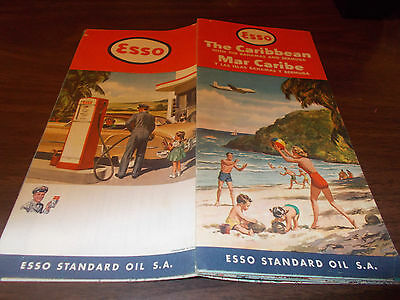 1957 Esso Caribbean Vintage Road Map / Nice Graphics / Scarce Map