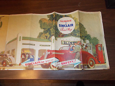 1934 Sinclair Illinois Vintage Road Map / Nice Gas Station Art Cover by P. Helck