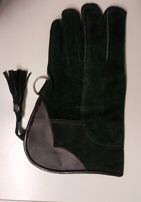 Falconry Glove Suede Leather Double Layer 12 Inches Long Standard Size Green