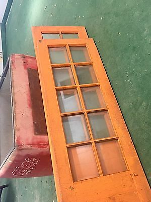 Rare Pair Of French Doors With All Heavy Beveled Glass Old Paint. Restoration