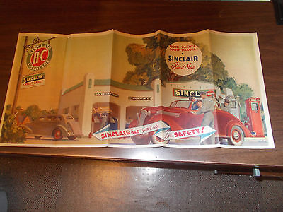 1937 Sinclair North and South Dakota Vintage Road Map / Gas Station Cover Art