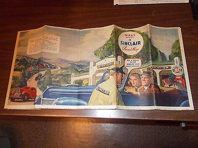1938 Sinclair Texas/Mexico Vintage Road Map / Great Gas Station Cover Art