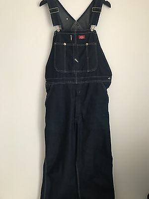 Vintage Dickies Raw Denim Dungarees Workwear Overalls W 36 L 30
