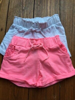 Girls Cotton Shorts Pink White Age 9-12 Months New