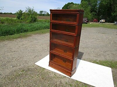 Antique C-1910 Globe Wernicke Tiger Oak 5 Stack Barrister Bookcase  Excellent