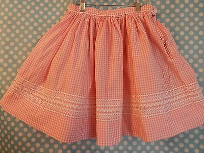 Vintage Skirt Gingham Girl's 10/12 Ric Rac Detail Trim Dirndl