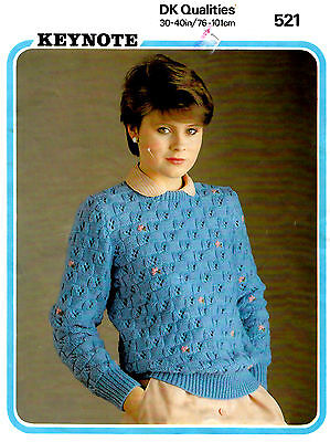 """Knitting Pattern Keynote 521 Ladies 30-40"""" Embroidered Sweater Long-Sleeved Aua"""