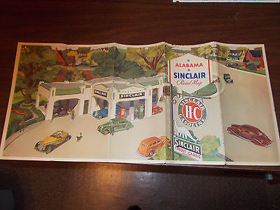 1936 Sinclair Alabama Vintage Road Map / Gas Station Cover Art by Peter Helck